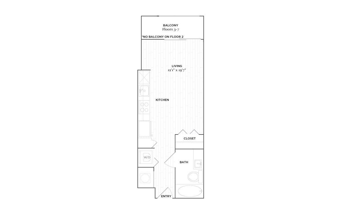 A1 - Studio floorplan layout with 1 bath and 384 square feet. (2D)