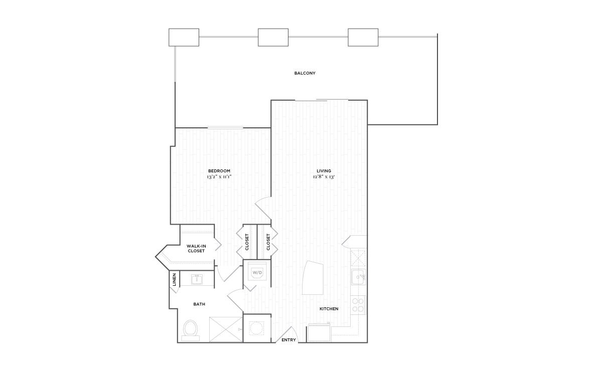 B1 - 1 bedroom floorplan layout with 1 bath and 863 square feet. (2D)