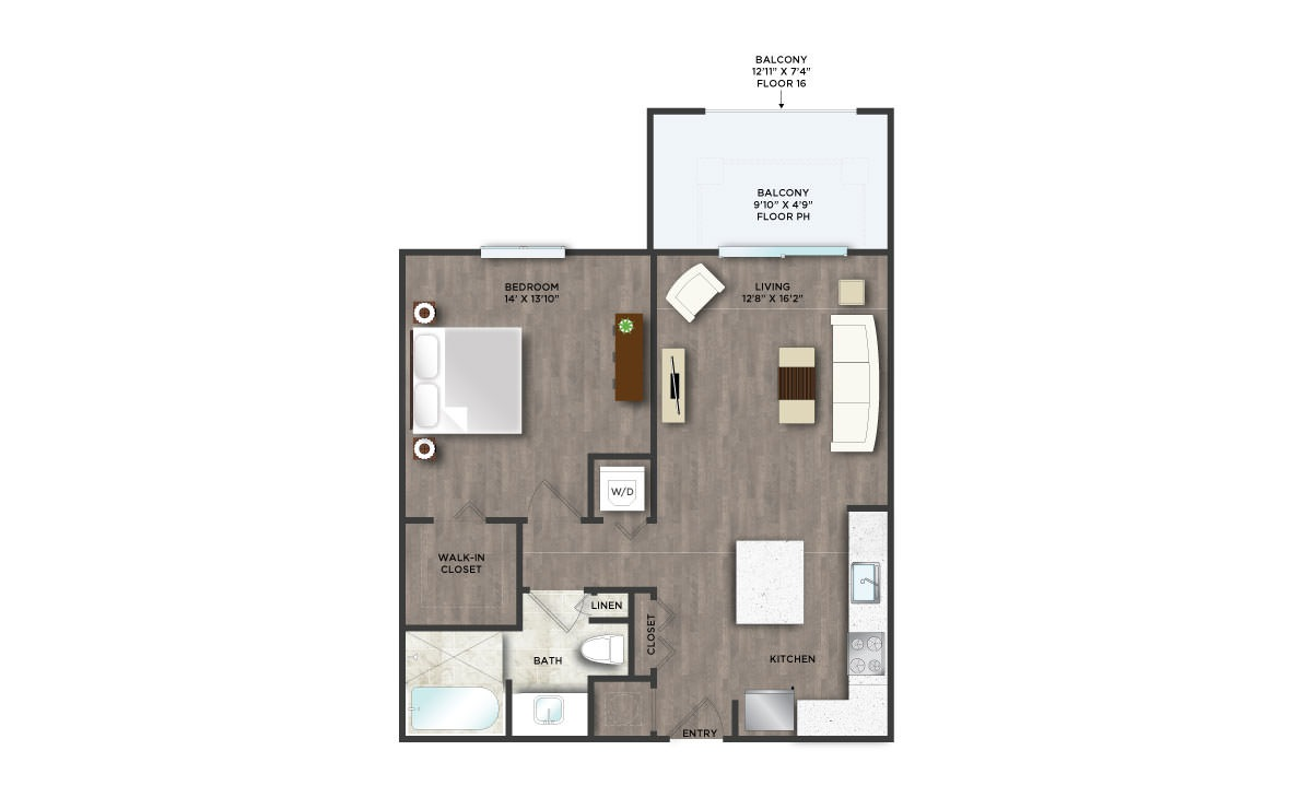 B3PH  - 1 bedroom floorplan layout with 1 bath and 735 square feet. (2D)