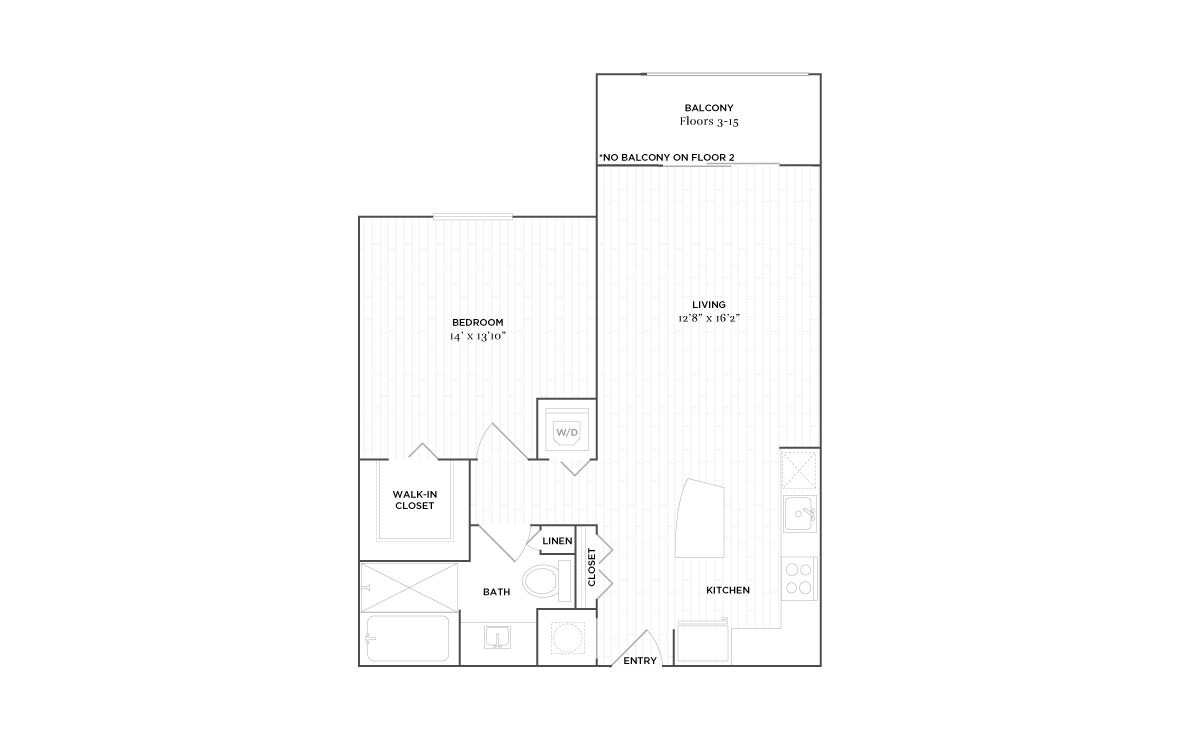 B3 - 1 bedroom floorplan layout with 1 bath and 777 square feet. (2D)
