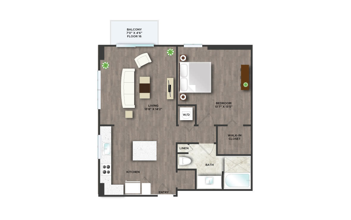 B4PH  - 1 bedroom floorplan layout with 1 bath and 820 square feet. (2D)