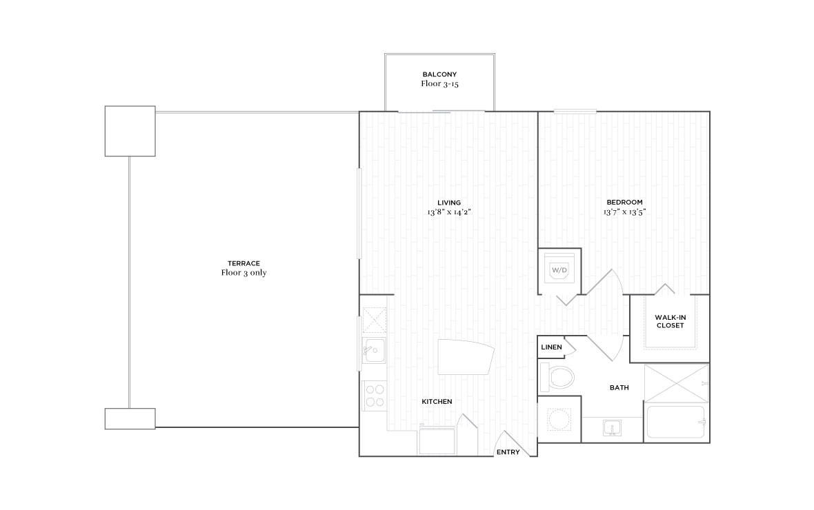 B4 - 1 bedroom floorplan layout with 1 bath and 820 square feet. (2D)