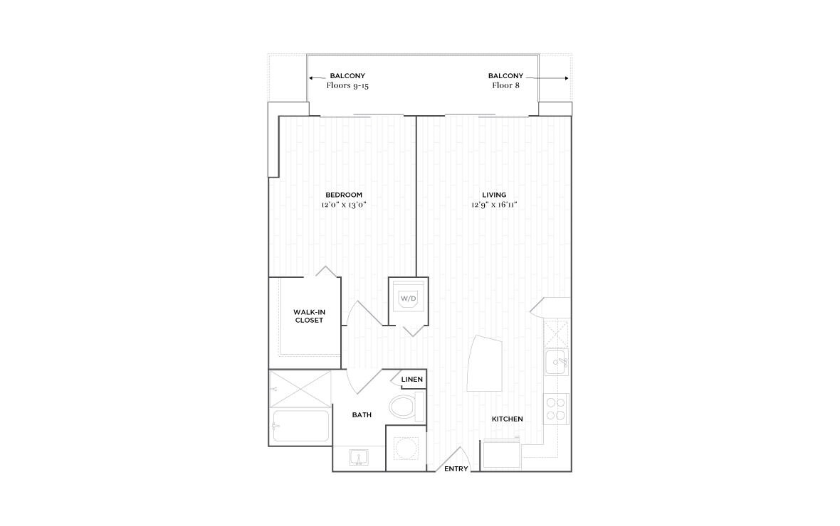 B7 - 1 bedroom floorplan layout with 1 bath and 788 square feet. (2D)