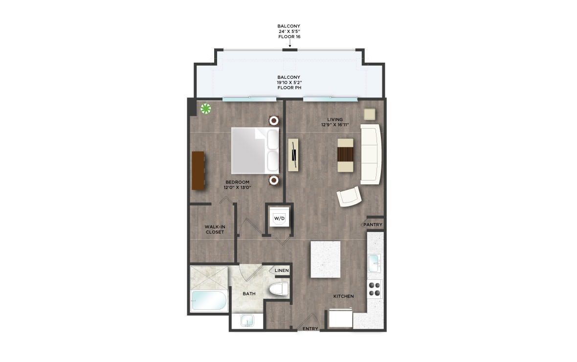 B7APH  - 1 bedroom floorplan layout with 1 bath and 705 square feet. (2D)