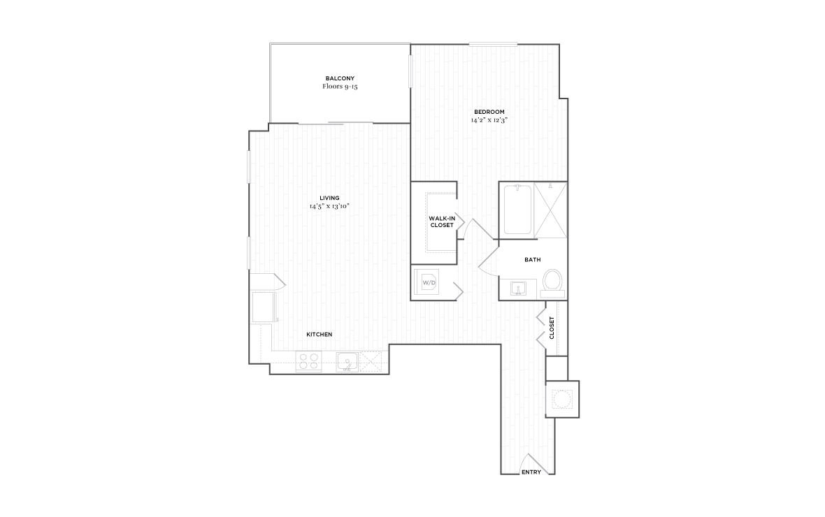 B8 - 1 bedroom floorplan layout with 1 bath and 890 square feet. (2D)