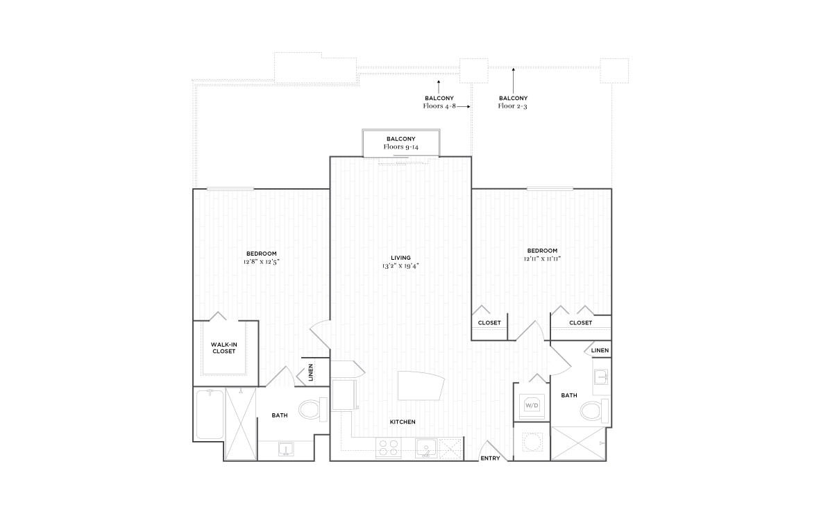 C1 - 2 bedroom floorplan layout with 2 baths and 1132 square feet. (2D)