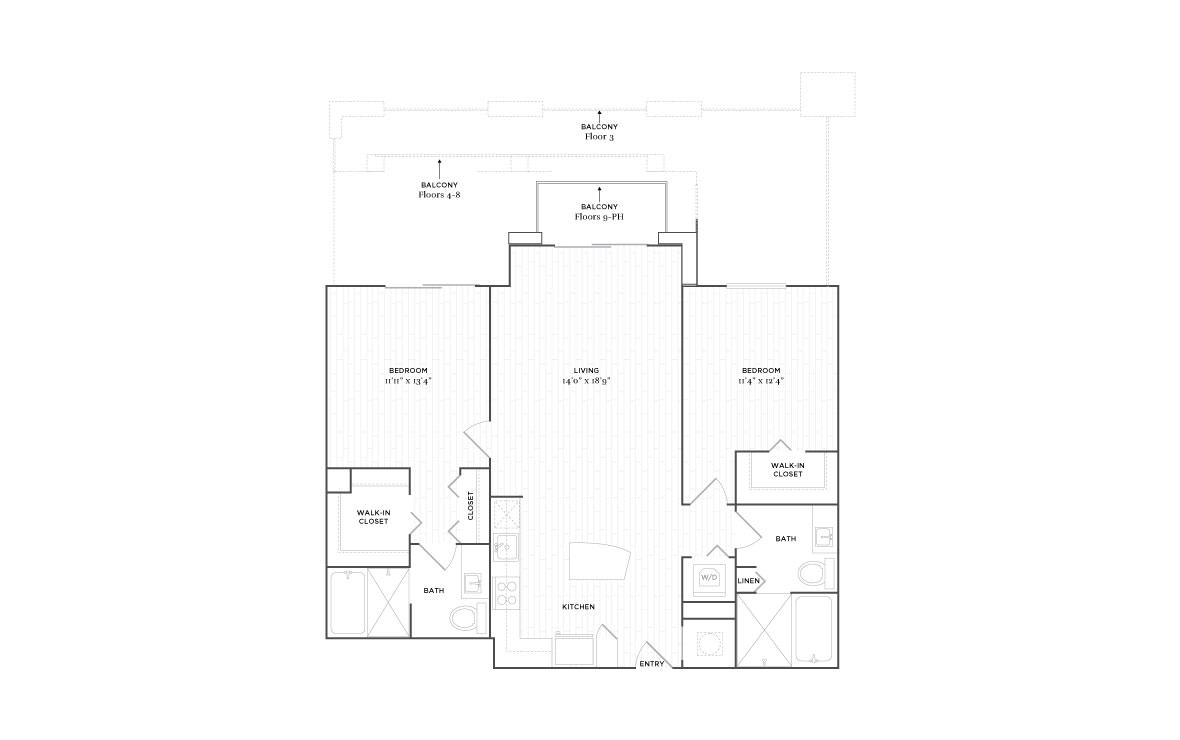 C4 - 2 bedroom floorplan layout with 2 baths and 1168 square feet. (2D)