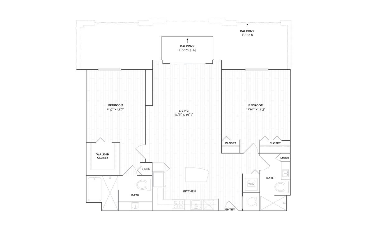 C5A - 2 bedroom floorplan layout with 2 baths and 1168 square feet. (2D)