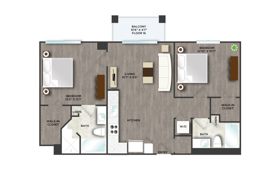 C6PH  - 2 bedroom floorplan layout with 2 baths and 929 square feet. (2D)