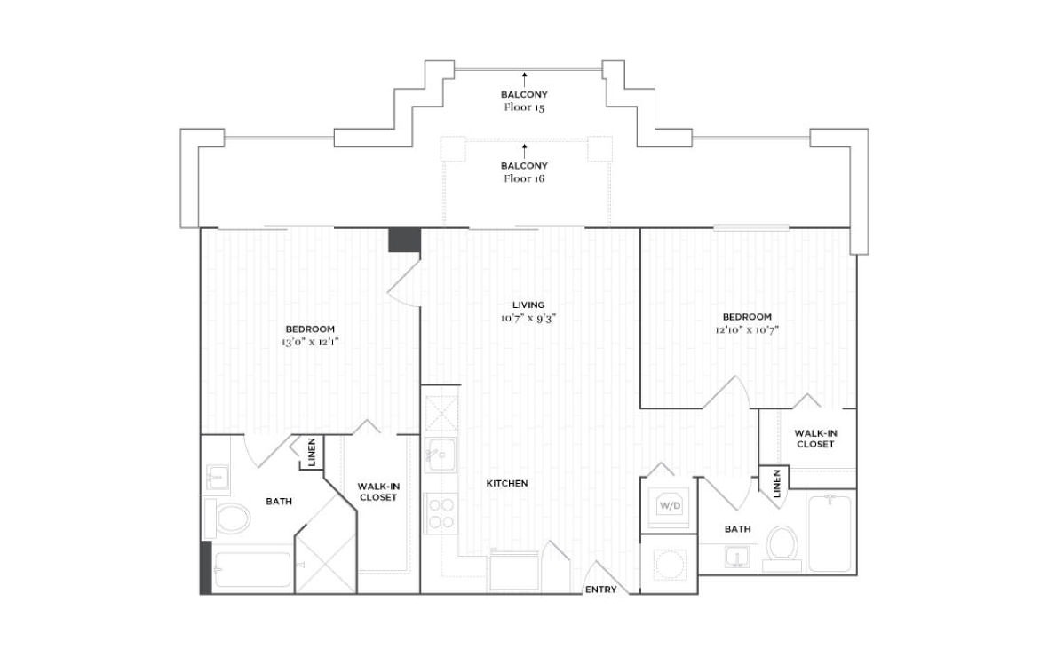 C6A - 2 bedroom floorplan layout with 2 baths and 961 square feet. (2D)