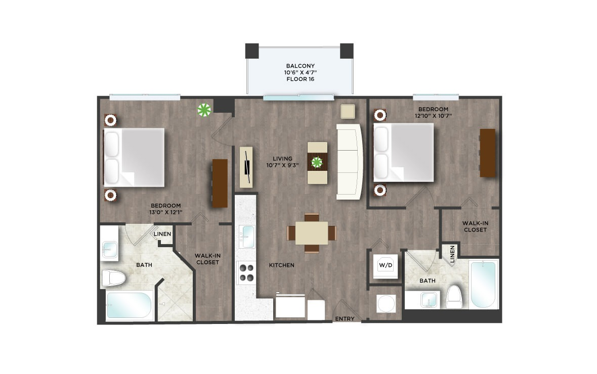 C6APH  - 2 bedroom floorplan layout with 2 baths and 961 square feet. (2D)