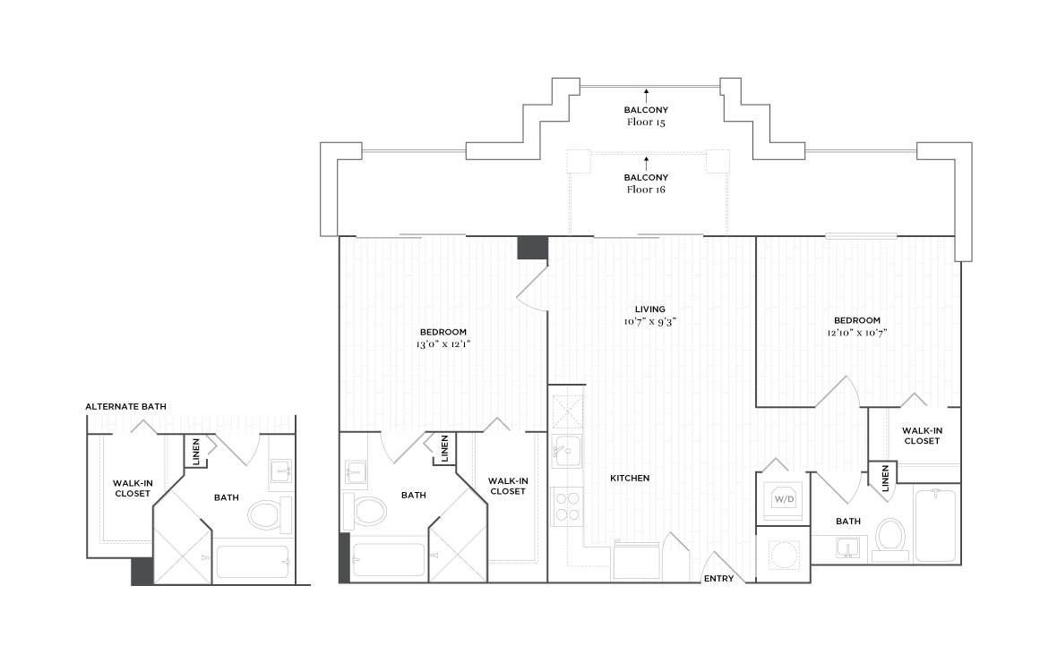 C6 - 2 bedroom floorplan layout with 2 baths and 929 square feet. (2D)