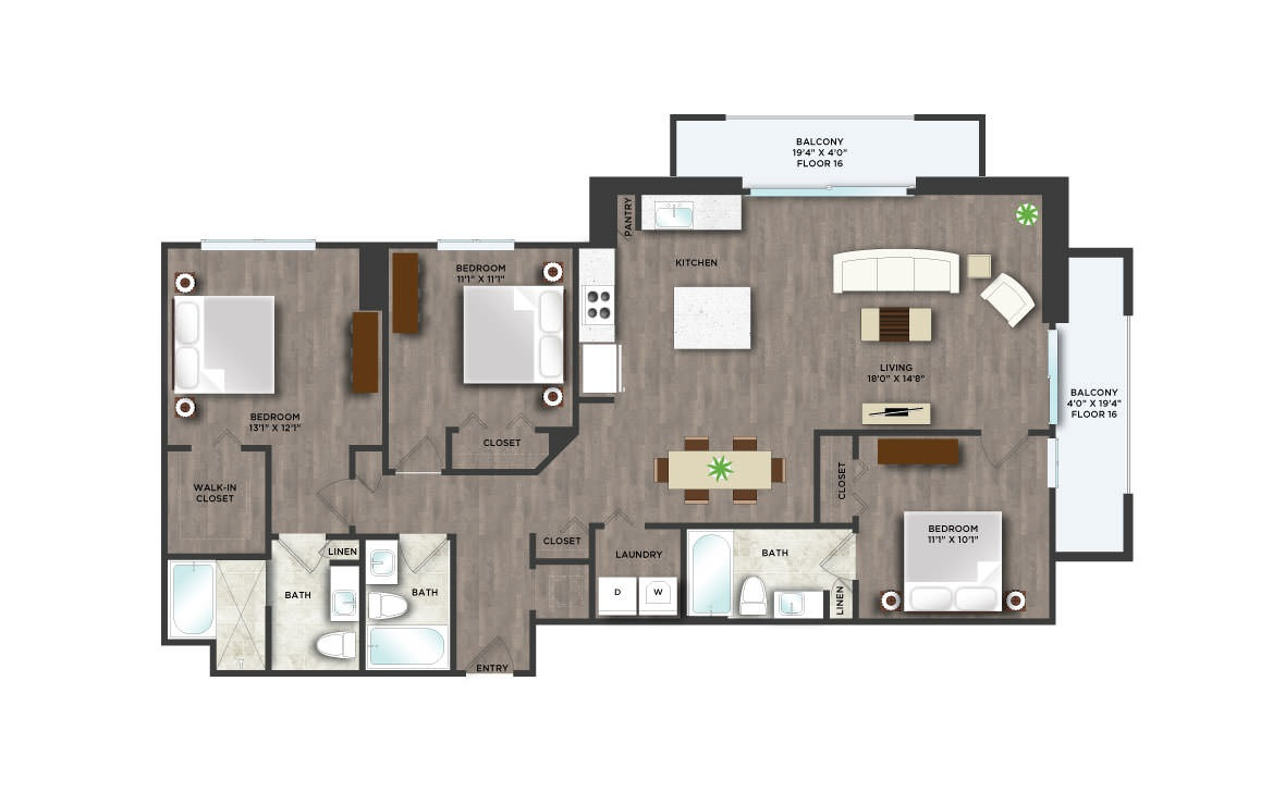 D1PH  - 3 bedroom floorplan layout with 3 baths and 1485 square feet. (2D)