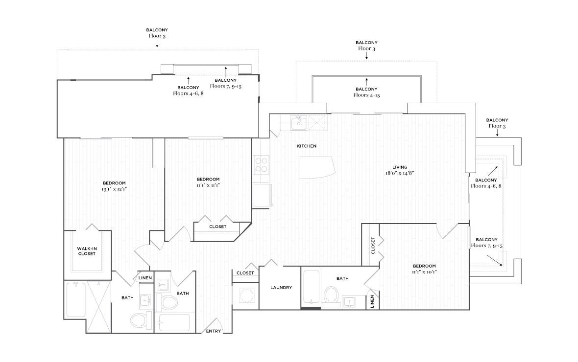 D1 - 3 bedroom floorplan layout with 3 baths and 1485 square feet. (2D)