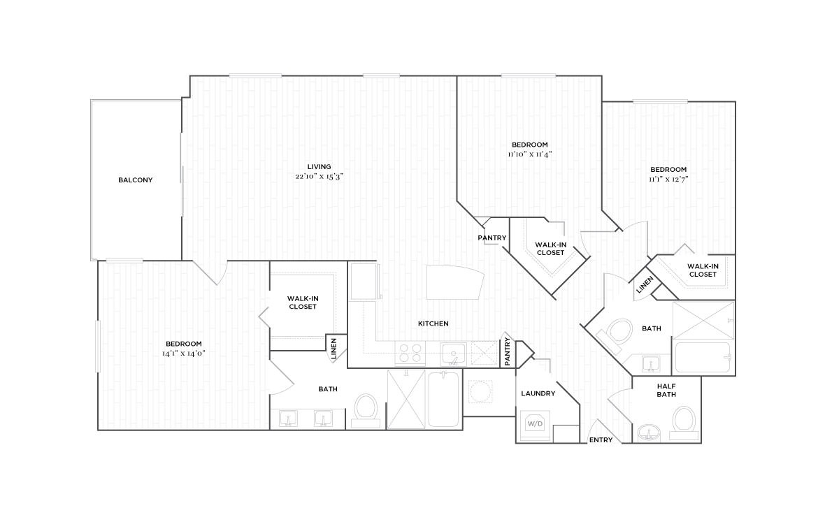 D2 - 3 bedroom floorplan layout with 2.5 baths and 1550 square feet. (2D)