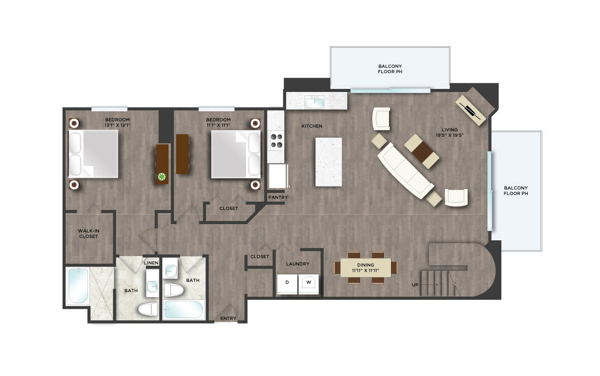 The Tower - 3 bedroom floorplan layout with 3 baths and 1950 square feet. (Floor 1 / 2D)