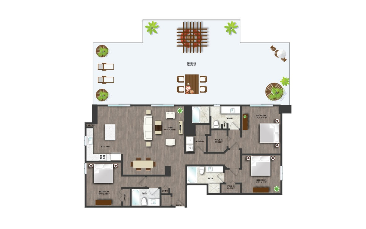 The Terrace - 3 bedroom floorplan layout with 3 baths and 1839 square feet. (2D)