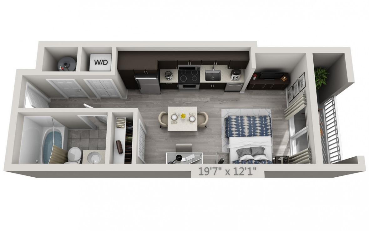 A1 - Studio floorplan layout with 1 bath and 384 square feet. (3D)