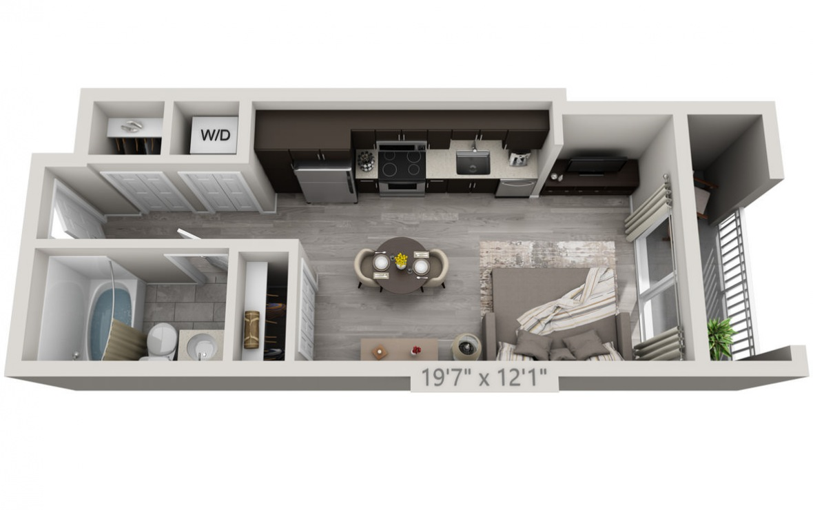 A1A - Studio floorplan layout with 1 bath and 413 square feet. (3D)