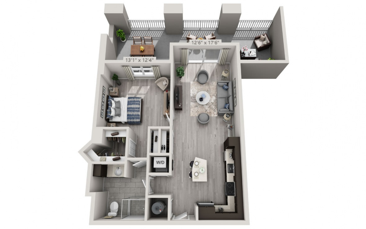 B1 - 1 bedroom floorplan layout with 1 bath and 863 square feet. (3D)