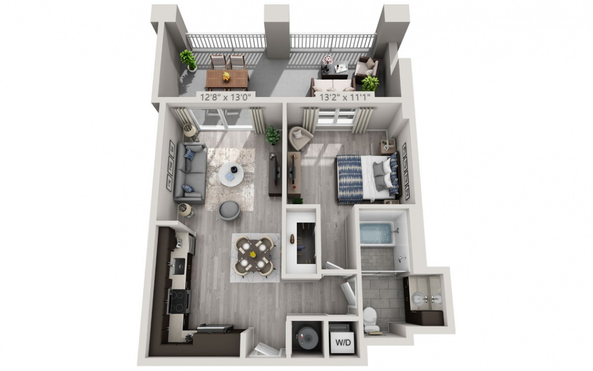B2 - 1 bedroom floorplan layout with 1 bath and 744 square feet. (3D)
