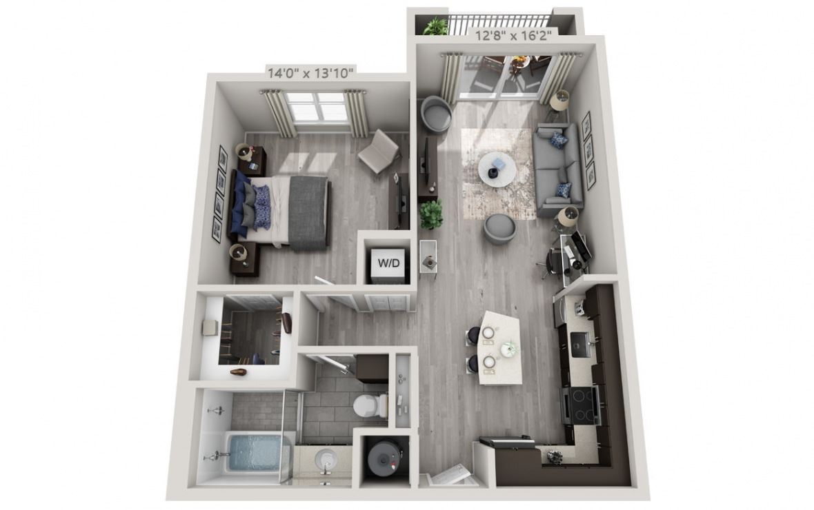 B3 - 1 bedroom floorplan layout with 1 bath and 777 square feet. (3D)