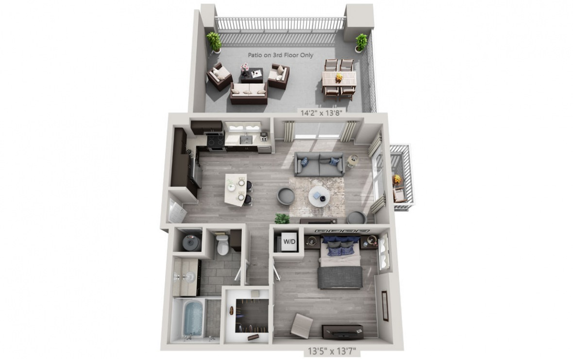 B4 - 1 bedroom floorplan layout with 1 bath and 820 square feet. (3D)
