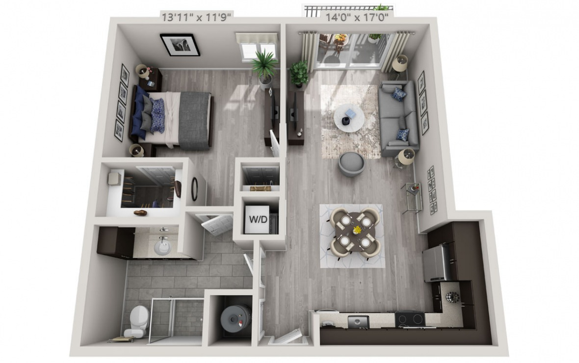 B6 - 1 bedroom floorplan layout with 1 bath and 756 square feet. (3D)