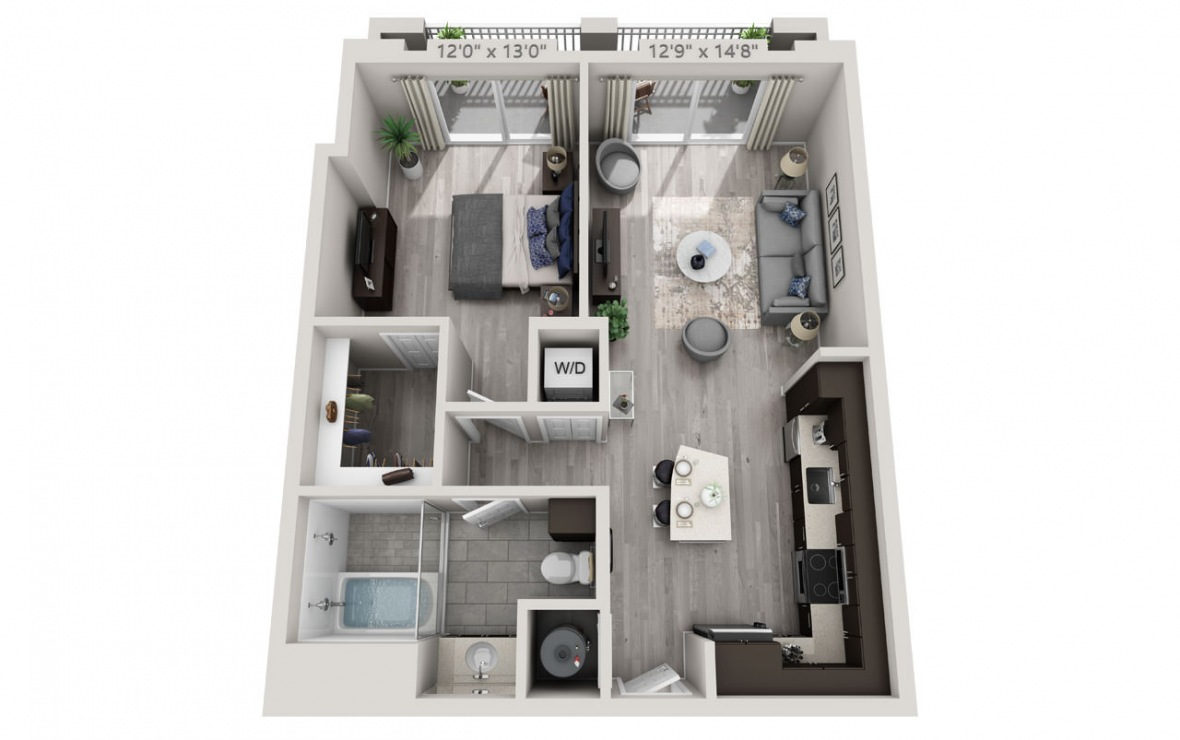 B7 - 1 bedroom floorplan layout with 1 bath and 788 square feet. (3D)