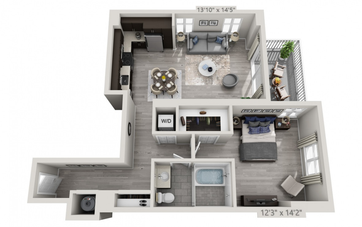 B8 - 1 bedroom floorplan layout with 1 bath and 890 square feet. (3D)