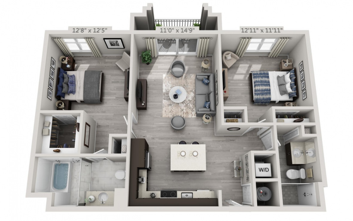 C1APH  - 2 bedroom floorplan layout with 2 baths and 1087 square feet. (3D)