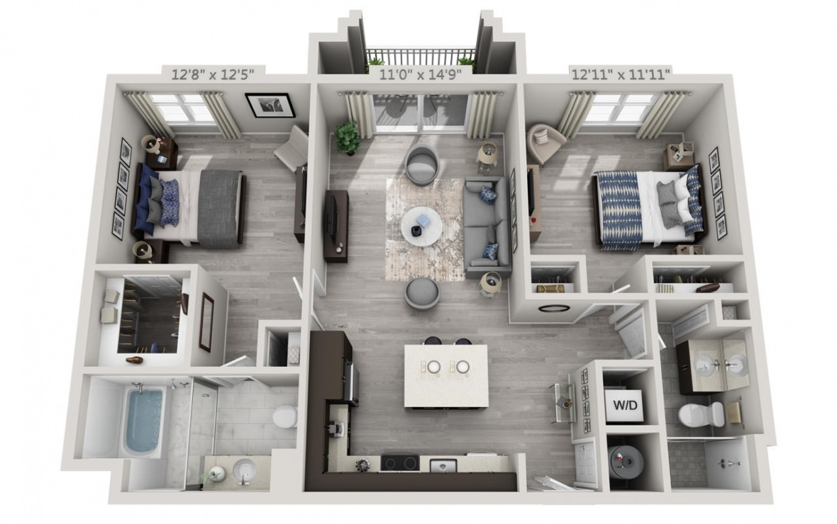 C4APH  - 2 bedroom floorplan layout with 2 baths and 1142 square feet. (3D)