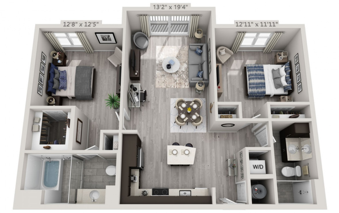 C1 - 2 bedroom floorplan layout with 2 baths and 1132 square feet. (3D)