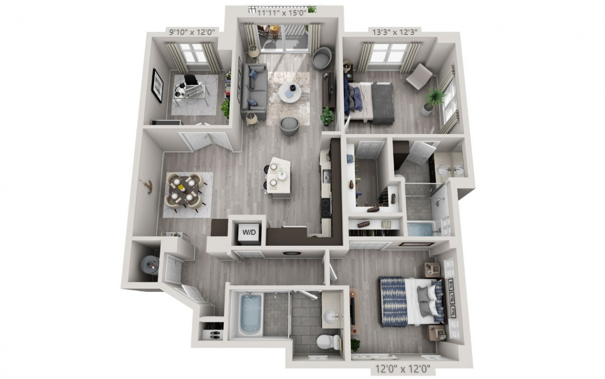 C3 - 2 bedroom floorplan layout with 2 baths and 1333 square feet. (3D)