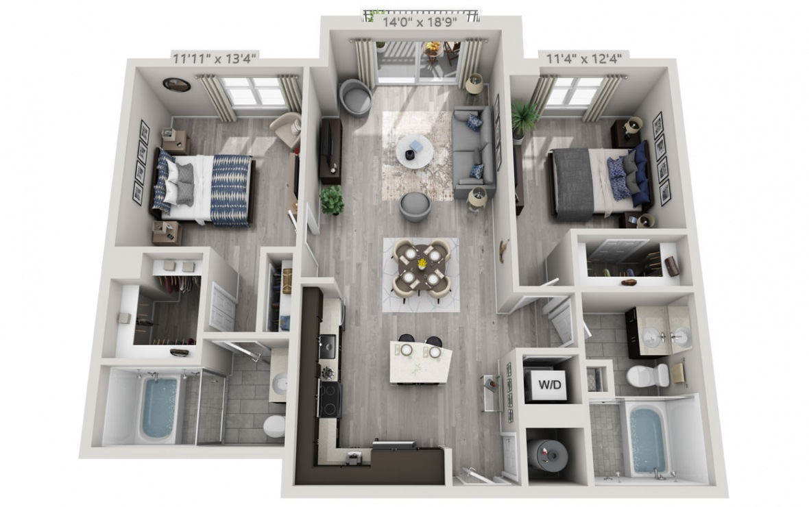 C4 - 2 bedroom floorplan layout with 2 baths and 1168 square feet. (3D)