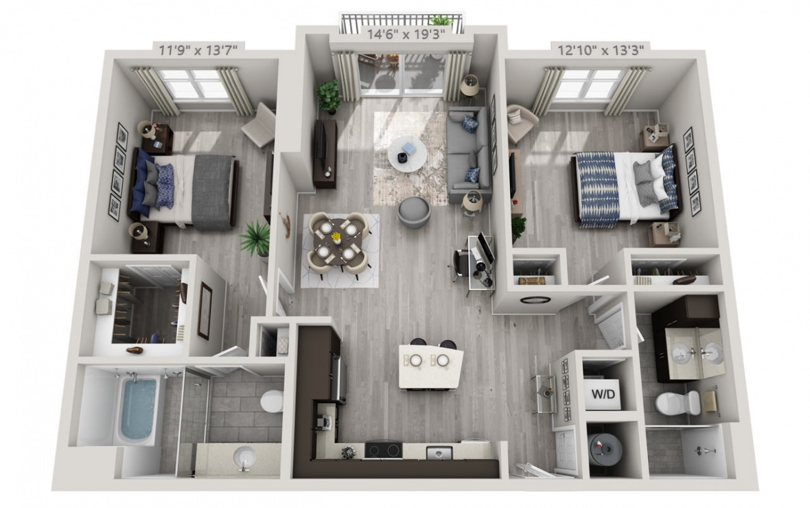 C5 - 2 bedroom floorplan layout with 2 baths and 1168 square feet. (3D)