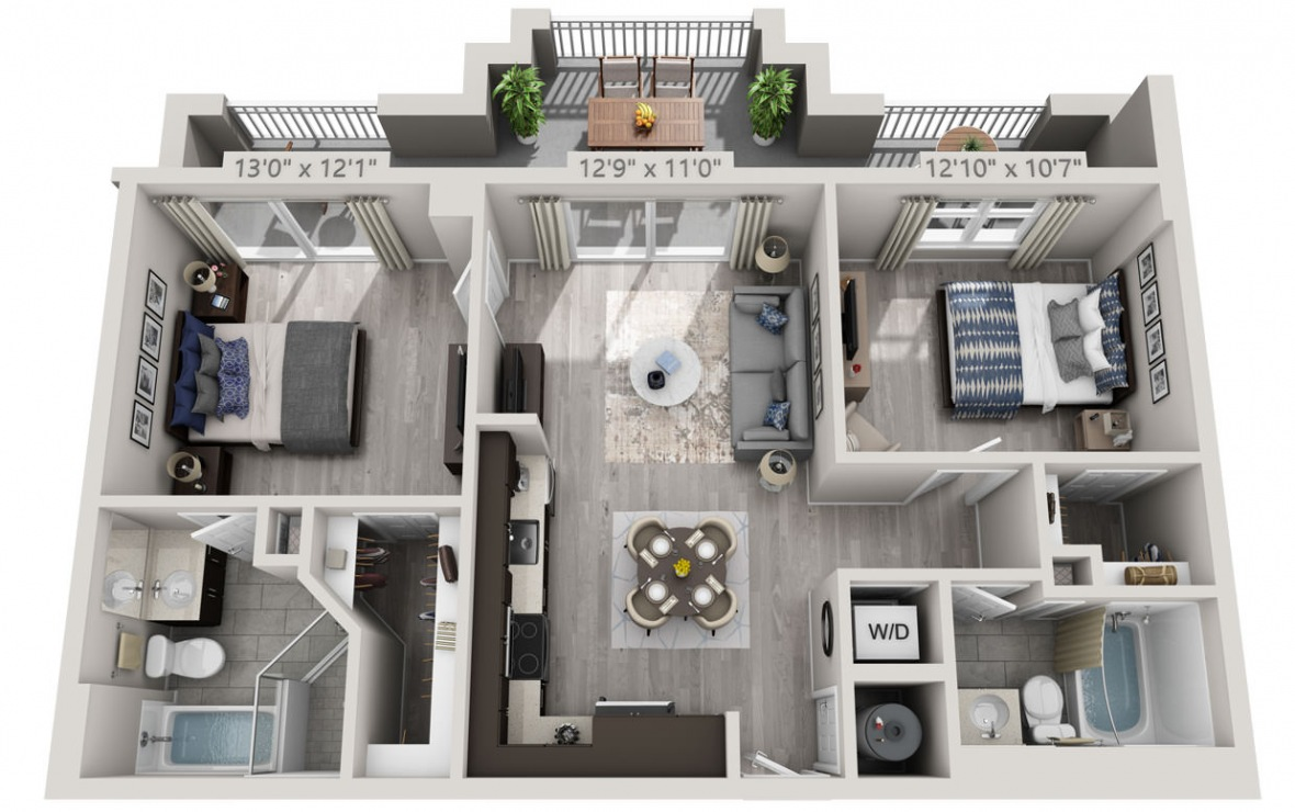 C6 - 2 bedroom floorplan layout with 2 baths and 929 square feet. (3D)