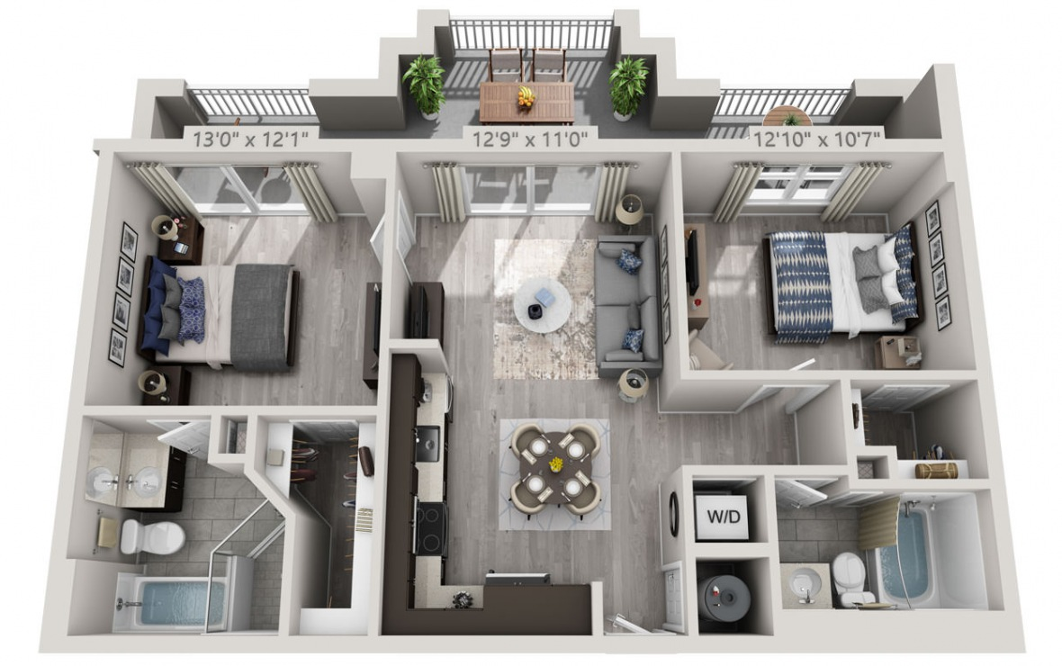 C6A - 2 bedroom floorplan layout with 2 baths and 961 square feet. (3D)