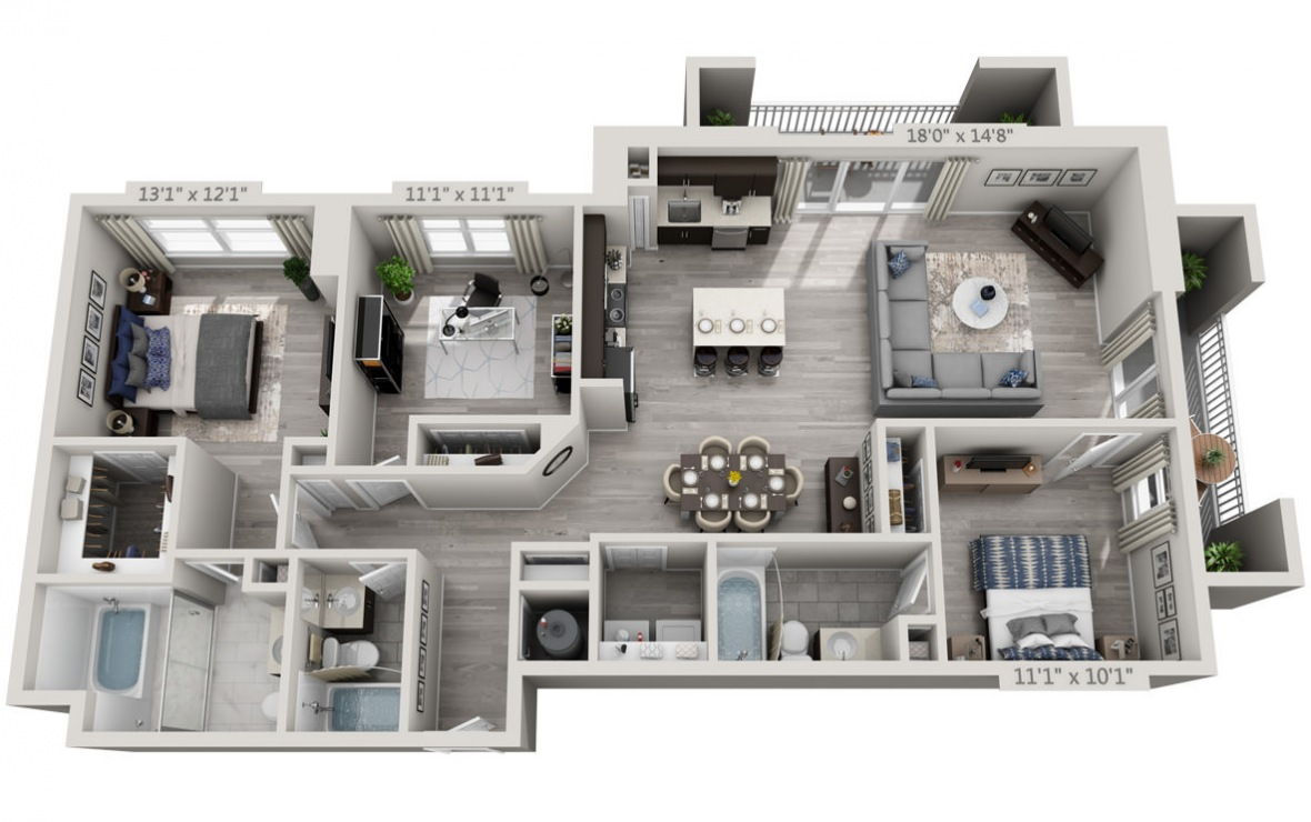D1PH  - 3 bedroom floorplan layout with 3 baths and 1485 square feet. (3D)