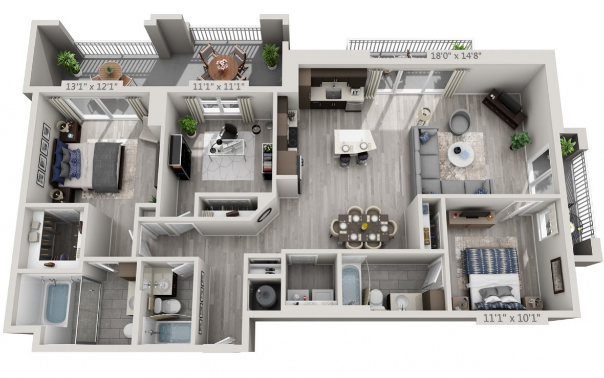 D1 - 3 bedroom floorplan layout with 3 baths and 1485 square feet. (3D)