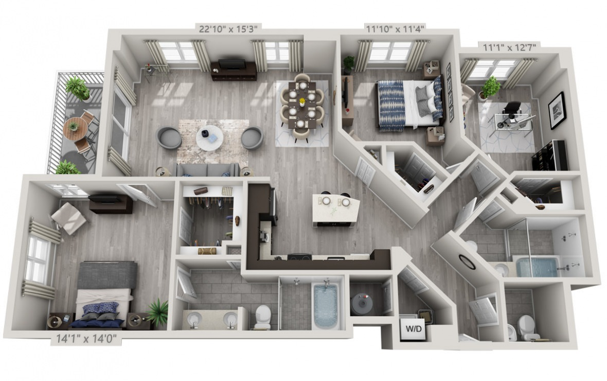 D2 - 3 bedroom floorplan layout with 2.5 baths and 1550 square feet. (3D)