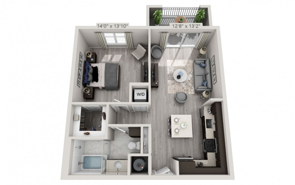 B3PH  - 1 bedroom floorplan layout with 1 bath and 735 square feet. (3D)