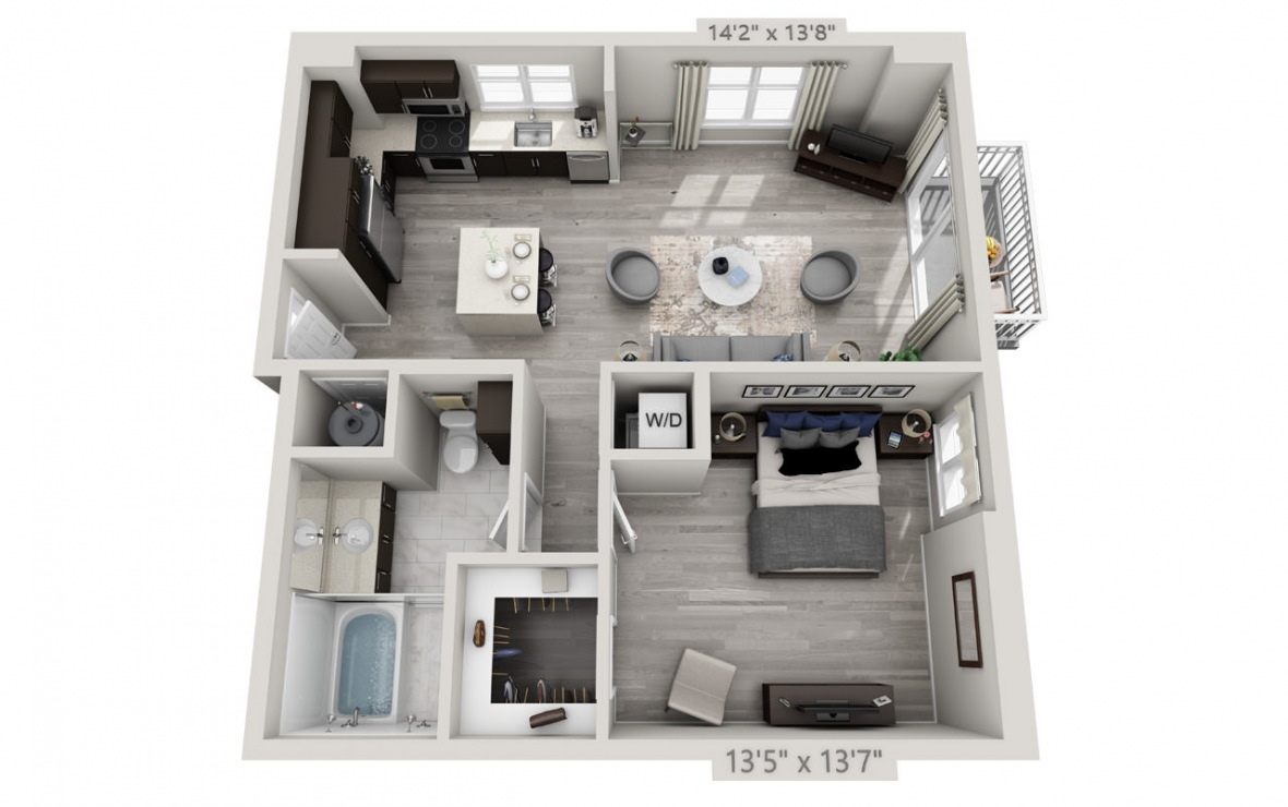 B4PH  - 1 bedroom floorplan layout with 1 bath and 820 square feet. (3D)