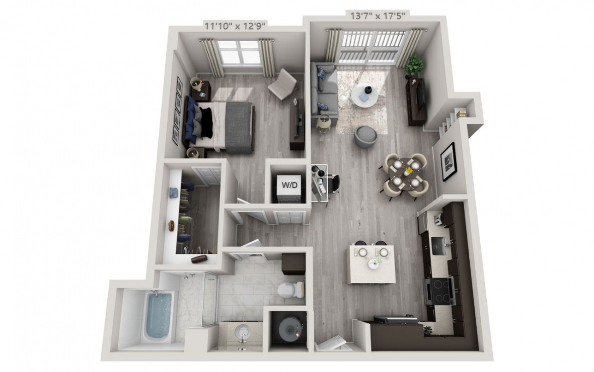 B5PH  - 1 bedroom floorplan layout with 1 bath and 834 square feet. (3D)