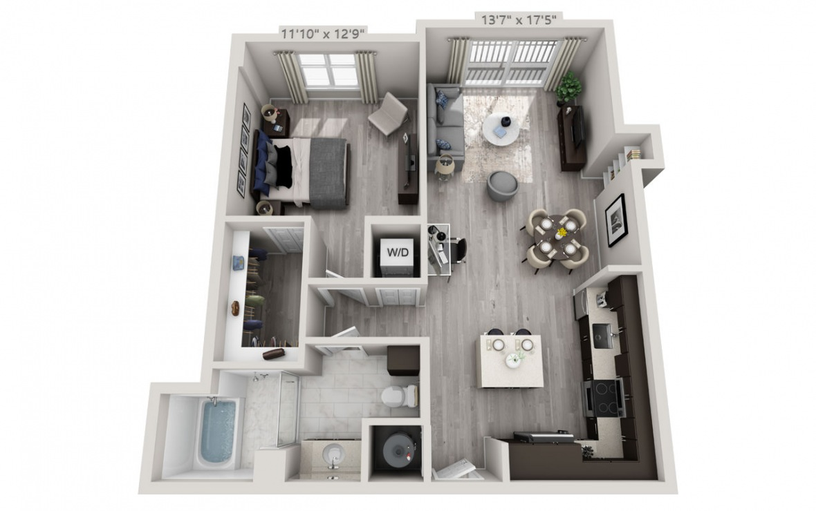 B5PH  - 1 bedroom floorplan layout with 1 bath and 834 square feet. (2D)