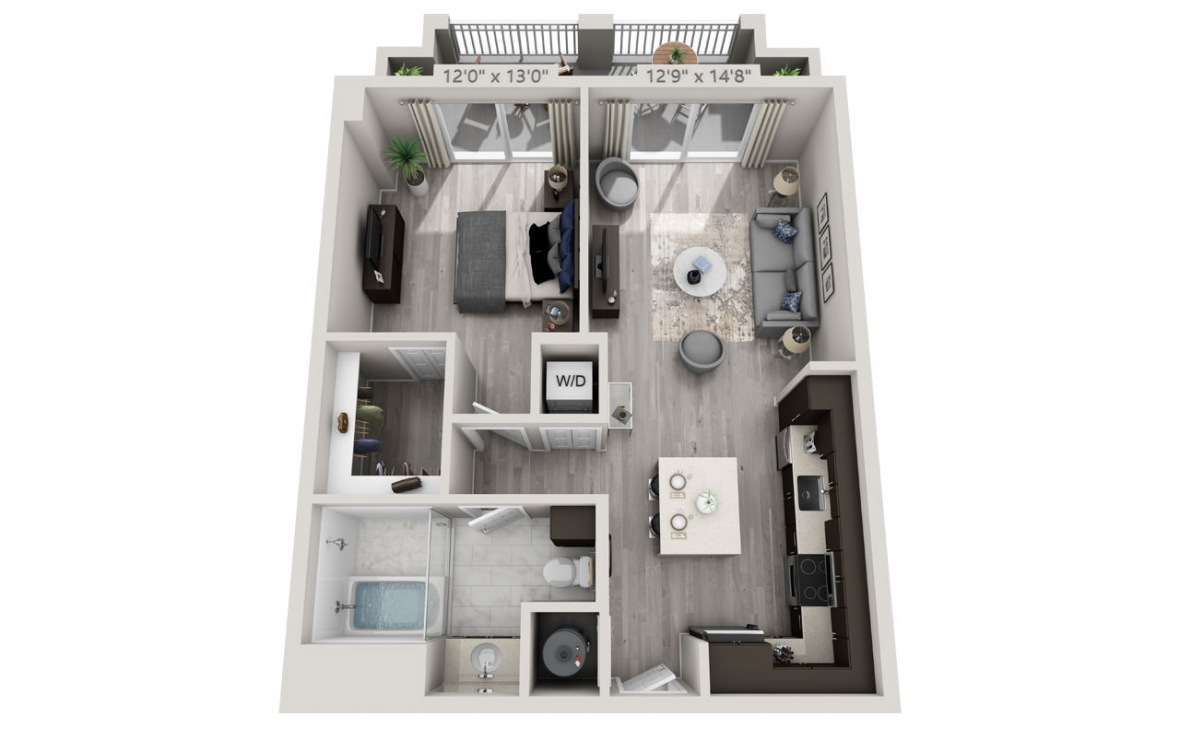 B7APH  - 1 bedroom floorplan layout with 1 bath and 705 square feet. (3D)