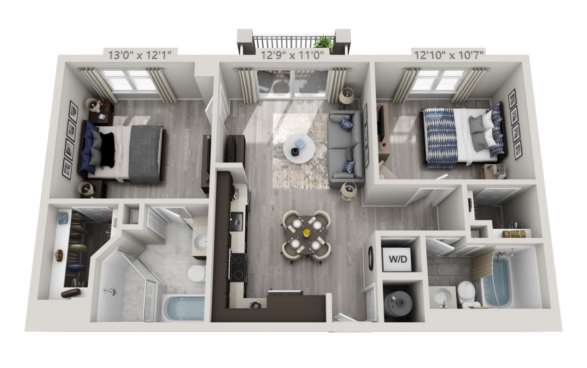 C6PH  - 2 bedroom floorplan layout with 2 baths and 929 square feet. (3D)