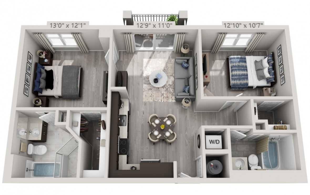 C6APH  - 2 bedroom floorplan layout with 2 baths and 961 square feet. (3D)