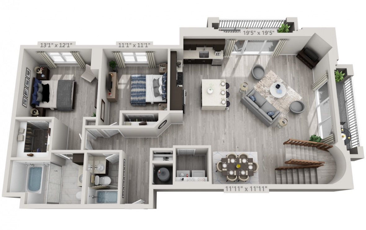 The Tower - 3 bedroom floorplan layout with 3 baths and 1950 square feet. (Floor 1 / 3D)