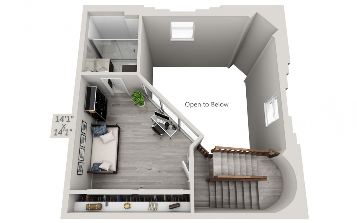 The Tower - 3 bedroom floorplan layout with 3 baths and 1950 square feet. (Floor 2 / 3D)